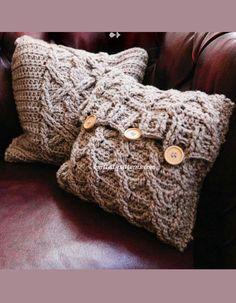 Aran Cushion Covers FREE pattern, chunky beige CROCHET cabled cushion covers (hva)