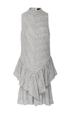 Stripe chevron crepe mock neck ruffle dress by Wes Gordon | Moda Operandi