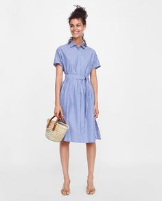 ZARA  STRIPED BELTED DRESS DETAILS  29.95 EUR  COLOR: Blue/White  7653/825