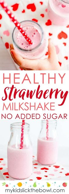 Healthy Strawberry Milkshake Homemade Easy Recipe, Vegan Options, No added sugar perfect Valentines smoothie for kids valentines milkshake smoothie 502784745892265538 Healthy Milkshake, Strawberry Milkshake, Milkshake Recipes, Homemade Milkshake, Homemade Smoothies, Smoothie Recipes For Kids, Smoothies For Kids, Simple Smoothies, Kids Cooking Recipes
