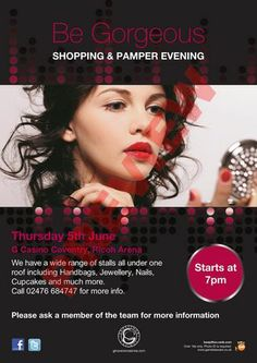 Be Gorgeous at Grosvenor G Casino Coventry, Ricoh Arena, Coventry, CV6 6GE, United Kingdom on Thursday June 05, 2014 at 7:00 pm (ends Thursday June 05, 2014 at 10:00 pm). Shopping and Pamper evening. Over 50 stalls from Make up to Cupcakes. Category: Retail, Shopping. Price: Free