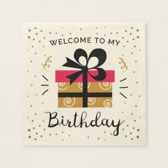 cute illustrated birthday party paper napkins - birthday gifts party celebration custom gift ideas diy