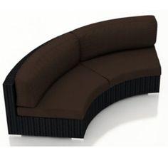 Harmonia Living Urbana Eclipse Outdoor Modern Wicker Curved Loveseat with Brown Sunbrella Cushions