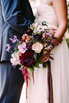 Loving the dark & moody wedding trend? These 20 jewel tone bouquets are perfect for a fall or winter wedding, or to add some gothic drama to any wedding day! Bride Bouquets, Flower Bouquet Wedding, Floral Wedding, Wedding Colors, Blush Bouquet, Forest Wedding, Wedding Bride, Our Wedding, Dream Wedding