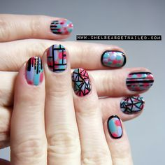 getnail-d:  .Geometric Mosaic Nails. I like the black stripes running down the nail tip over the coloured blocks.