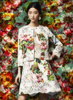 A kaleidoscopic bouquet of flowers - Dolce FW2014 Womenswear Collection Flower and Fruit Print Brocade and Lace Suit