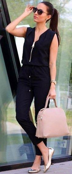 #summer #trendy #outfits |  Black Jumpsuit + Golden Ballerinas
