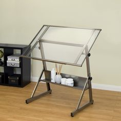 LEMY Adjustable Drafting Table Drawing Desk Clear Glass Top Craft Art Station For Studio Office W// Storage Drawers