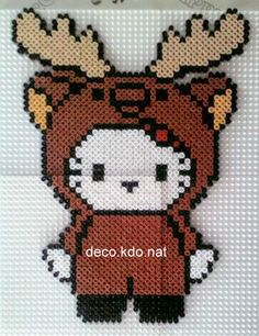 Christmas Reindeer Hello Kitty hama perler beads by Deco.Kdo.Nat