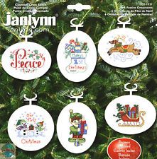 Cross Stitch Kit ~ Janlynn Christmas 6 Festive Ornaments w/Frames #021-1321
