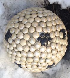 Dog print stone marble sphere decoration