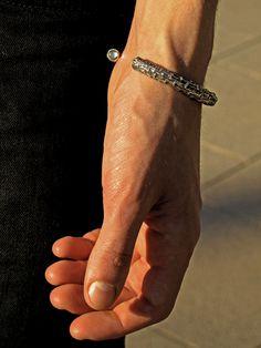 Men's bracelet  Sterling silver & aquamarines