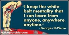 George St Pierre says it best - everyone starts at a white belt.