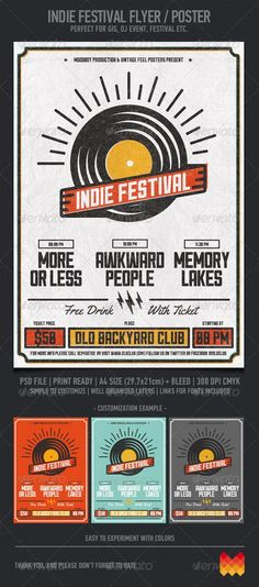 """Buy Indie Festival by moodboy on GraphicRiver. """"Indie Festival Flyer/Poster"""" – This flyer/poster was designed to promote music event, such as a gig, concert, festi. Poster Design Layout, Event Poster Design, Event Posters, Poster Design Inspiration, Poster Designs, Poster Ideas, Concert Posters, Creative Inspiration, Flyer Design"""