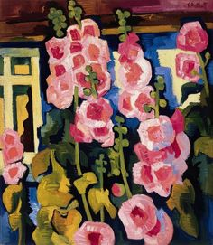 ❀ Blooming Brushwork ❀ - garden and still life flower paintings - Karl Schmidt-Rottluff | Malven am haus, 1926