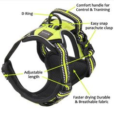 Large Dog Harness Handle Soft Padded Neck and Chest Lifting Pet Vest Green New