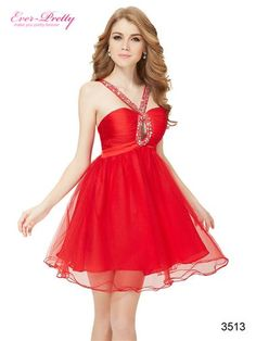 Red Crystal Beads Cocktail Dress
