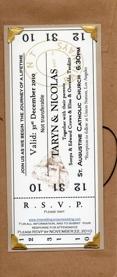 train ticket invitations- lovely metal corners. could this be wooden laser cut?
