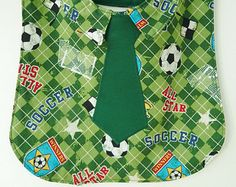Future All-Star Business Bib with Soccer Patterned Shirt Front and Green Tie