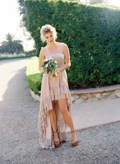 high-low bridesmaids dress. Maybe in a beautiful blue color or green.