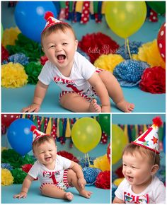 1-year -old baby boy Carnival Circus Cake Smash Setup Primary colors blue, red, yellow, green Party Hat | Bella Rose Portraits Newborn and Baby Photographer Photography