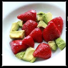 Avocado and Strawberries With Balsamic Vinegar: Fill your bowl and your belly with this sweet snack made with fresh strawberries, ripe avocado, and a drizzle of balsamic vinegar.  Source: Flickr user SweetOnVeg