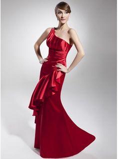 Sheath One-Shoulder Satin Evening Dresses With Ruffle Beading (017014675)