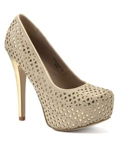 Nude and Gold Laser Cut Out Platform Courts
