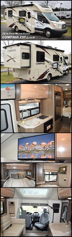 Travel comfortably in this 2016 Thor Motor Coach Compass 23TR Class C Motorhome. This diesel Class C Recreational Utility Vehicle (RUV) motorhome features all the amenities needed to enjoy traveling and provides sleeping and dining accommodations for three or four, plus a complete bath, and more!