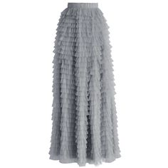 Chicwish Swan Cloud Maxi Skirt in Grey ($60) ❤ liked on Polyvore featuring skirts, bottoms, grey, dressy maxi skirts, lace maxi skirt, long lace maxi skirt, maxi skirt and long grey skirt