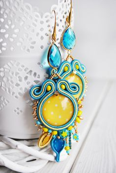 Soutache earrings swarovski earrings yellow blu by ByMimmiShop