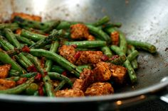 Spicy tempeh and green beans
