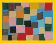 Nog een schilderij van Paul Klee. De opdracht: Er mogen geen twee vierkantjes van dezelfde kleur elkaar aanraken. (New Harmony)