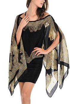 DJT Womens Paisley Print Chiffon Beachwear Poncho Bikini Cover Up Top BlackDJT Women Ethnic Hippy Loose Chiffon Multiway Wrap Beachwear Bikini Cover Up Tops Poncho ShawlCheap chiffon shawl, Buy Quality scarf shawl directly from China fashion shawls S Fashion 2017, Look Fashion, Hijab Fashion, Fashion Dresses, Womens Fashion, Fashion Spring, Kimono Shirt, Print Chiffon, Chiffon Tops