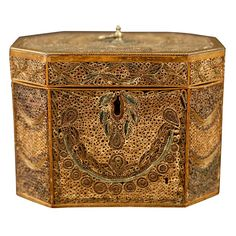 Octagonal George III period Rolled Paper Tea Caddy, c. 1780  England