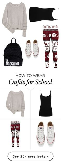 """""""School Outfit Ideas"""" by mahadevieffia on Polyvore featuring T By Alexander Wang, M&Co, Converse, Moschino, women's clothing, women's fashion, women, female, woman and misses"""