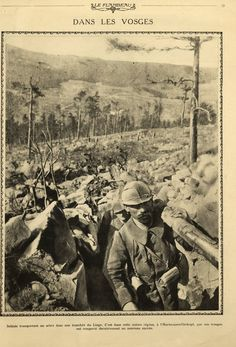 WWI, Jan 1916; Hartmanswillerkopf, Vosges, French soldiers with a tree. -Le Flambeau/Gallica