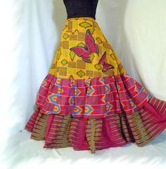 Papillon Rose  Long African Skirt Ooak Ethnic by BarefootModiste