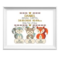 Baby cross stitch pattern Birth announcement cross stitch