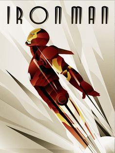 Awesome retro/throwback poster IronMan Art deco Poster by rodolforever.deviantart.com on @deviantART