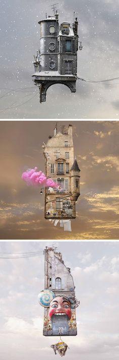 : New Flying Houses Hover Above Paris by Laurent Chéhère Photomontage, Collage Art, Collages, Colossal Art, Fantasy Landscape, Photo Manipulation, Dark Art, Unique Art, Amazing Art