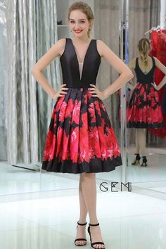 Only $89.99, Prom Dresses Black And Red Printed Short Satin Pleated Evening Dress With Deep V Neck #B047 at #GemGrace. View more special Special Occasion Dresses,Prom Dresses,Homecoming Dresses now? GemGrace is a solution for those who want to buy delicate gowns with affordable prices, a solution for those who have unique ideas about their gowns. Shop now!