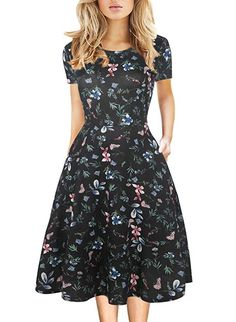 4e5a13dfd67 Women's Vintage Work Casual Round Neck Floral Pocket Tunic Cocktail Party  A-Line Dress 162
