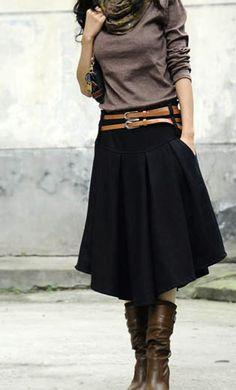 Winter Knee-length Wool Skirt & boots