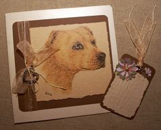 Believe, Hope, Love - Inspirational Mother's Day Card n Gift Tag. Pencil drawing of loyal dog. Organza ribbon, silver heart charm. OOAK.