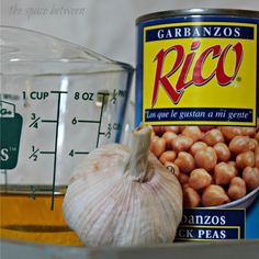 """3 ingredient hummus, pan """"roast"""" garlic and drain less liquid from beans to use less olive oil"""