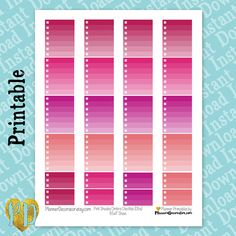 Printable Planner Stickers, Pink Ombre Checklist, Full Box Vertical ECLP / MAMBI Happy Planner Printables, Instant Download