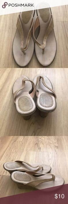 Flip Flop Style Wedges I don't remember the brand of these. Some wear. Size 8 Shoes Wedges