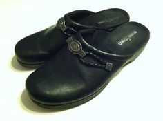 Minnetonka Womens Size 10 Black Leather Slip On Clogs Shoes Vintage  on Etsy, $23.11