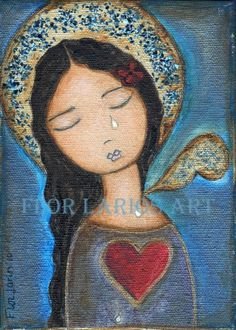 Tears Angel  Folk Art  Print from Painting  4 x 55  by FlorLarios
